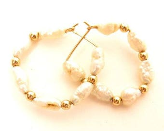 Small Signed Vintage 14K Solid Gold River Pearls Pattern Hoop Earrings*1.6g*E512