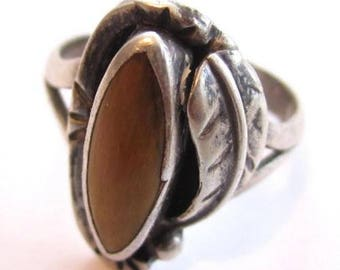 Gorgeous Ornate Tiger'S Eye Flower Vintage 925 Sterling Silver Ring*Sz 9.25*D285