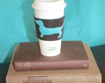 Double Sided Weiner Dog Felt Drink Cozy, Wiener Dog Coffee Sleeve, Dachshund Drink Sleeve, Cup Cozy