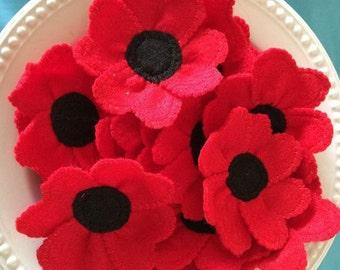 Handmade Felt Poppy Brooch, Poppy Pin, Remembrance Day, Veterans, Respect, children's poppy brooch