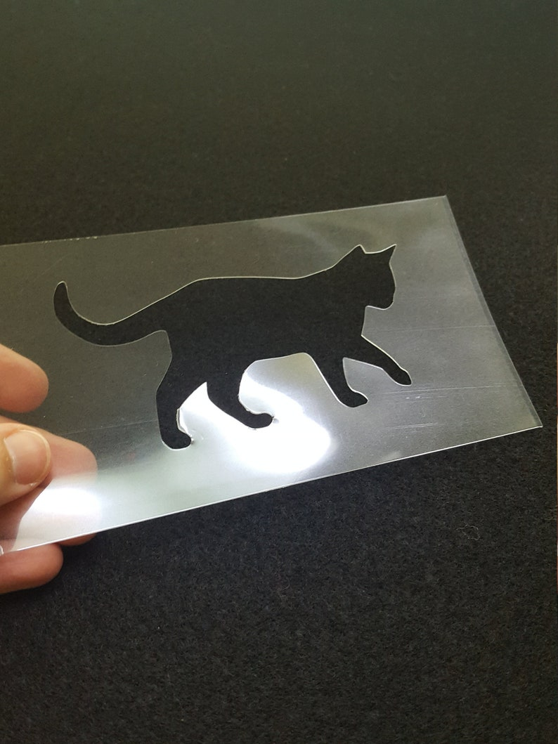 Walking cat stencil small cat silhouette animal stencil image 0