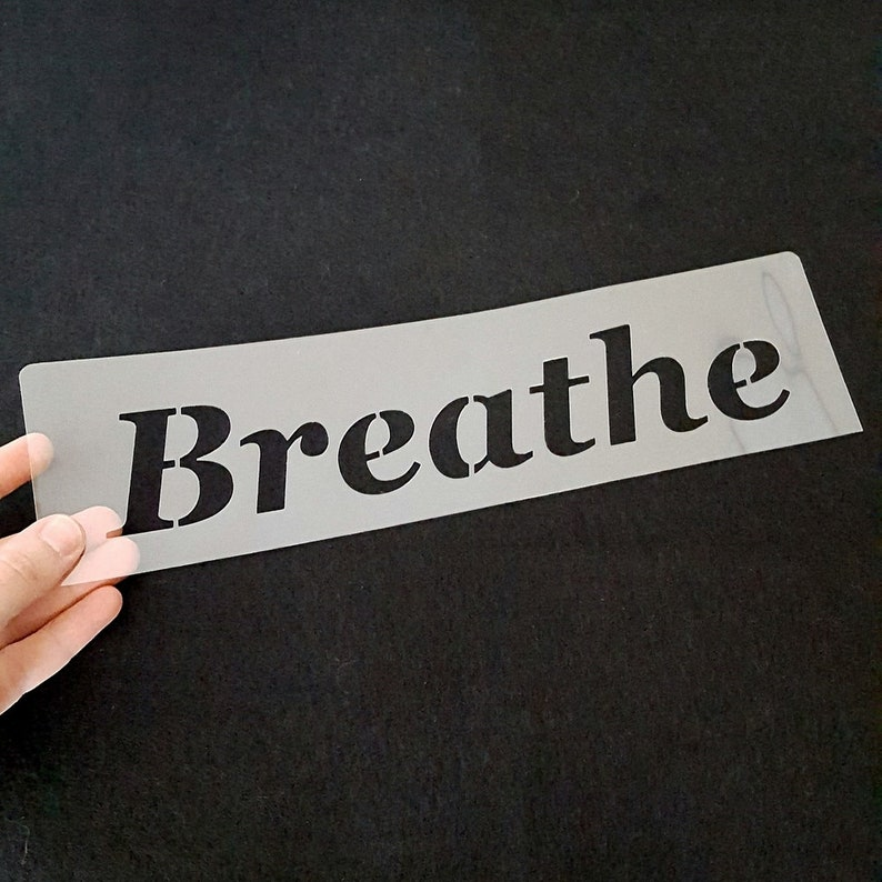 Breathe stencil inspirational stencil breathing stencil image 0