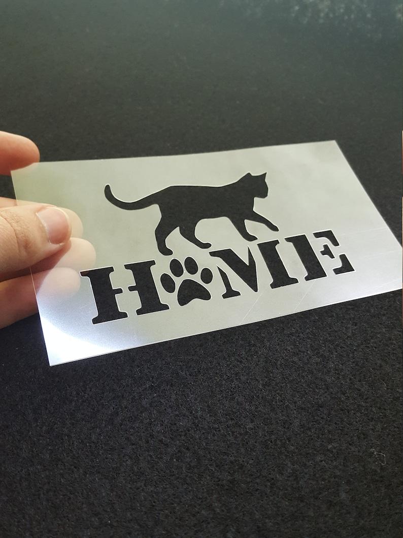 Cat home stencil small cat silhouette animal stencil pet image 0