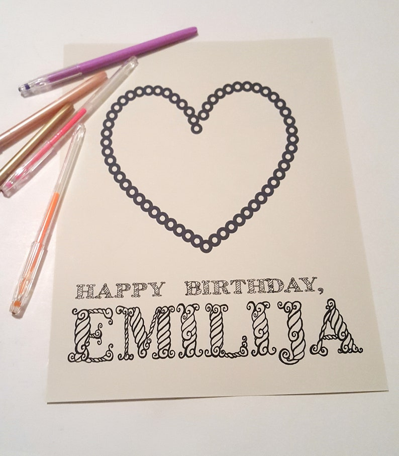 Printable coloring sheet kid birthday heart coloring page image 0
