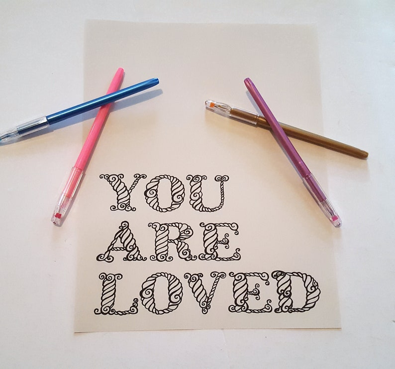 Digital coloring page You are loved INSTANT DOWNLOAD image 0