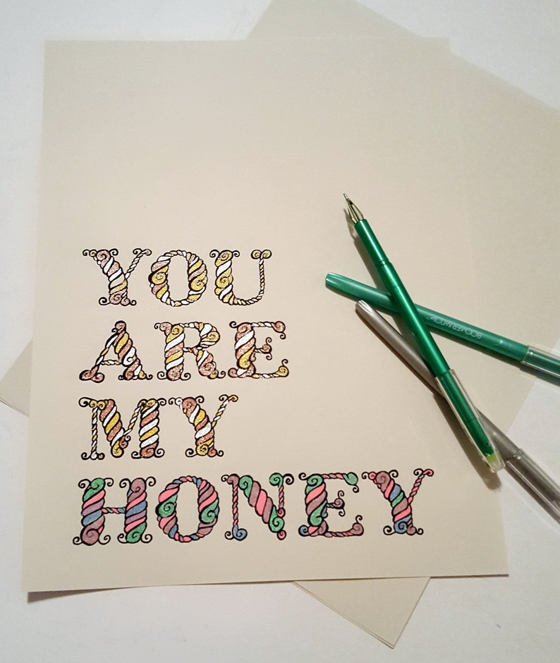 You are my honey digital coloring page INSTANT DOWNLOAD image 0