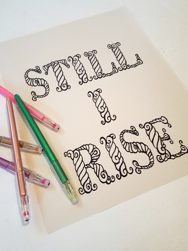 STILL I RISE digital coloring page instant download image 0