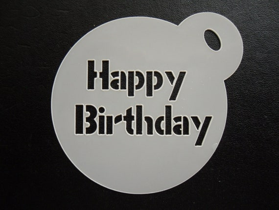 craft /& face painting stencil cake 60mm happy birthday design cookie