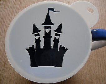 Unique bespoke new laser cut castle coffee stencil