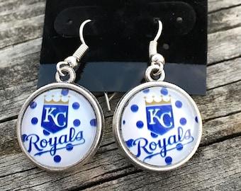 Earrings - Dangle earrings - Dangle and drop earrings - KC Royals earrings - KC Royals jewelry - Royals baseball - MLB earrings - Baseball