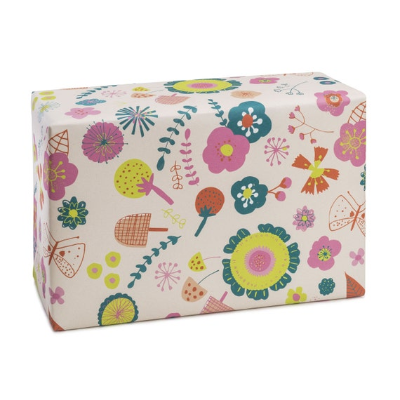 SUMMERTIME. Floral wrapping paper. Fruit and flowers. Bright colours. Vibrant. Joyful. Cheerful present. Pink background