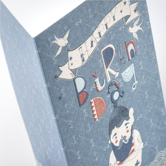 HAPPY SAILOR. Embossed birthday card. Sailor. Creative hand lettering. For him, for little boy, for husband, boyfriend