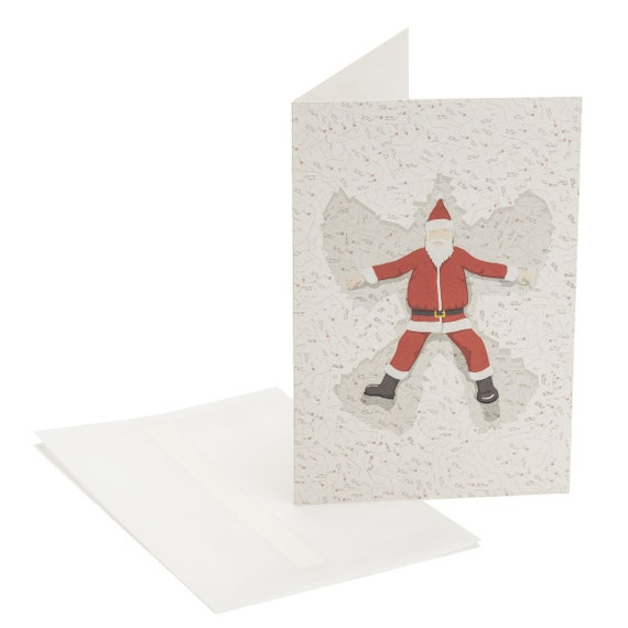SANTA'S ANGEL. Funny Christmas card. Exhausted Santa. For him, for children
