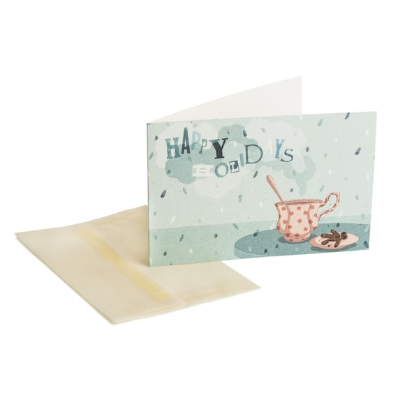 CRUNCHY COOKIE. Happy Holidays card. Chocolate cup and cookie. For him. For her. For kids.