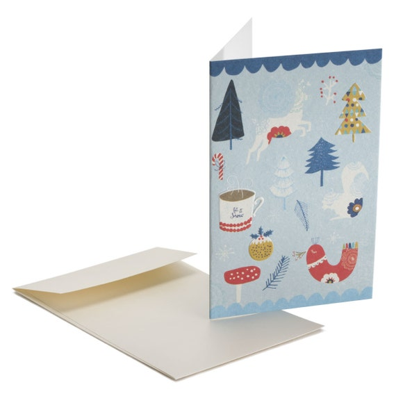 LET IT SNOW. Embossed Christmas card. Let it snow. Folk style. For her, for girlfriend, sister, Mom