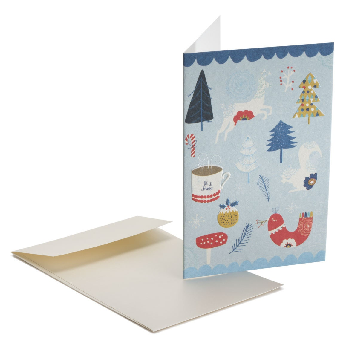 Let It Snow Embossed Christmas Card Let It Snow Folk Style For