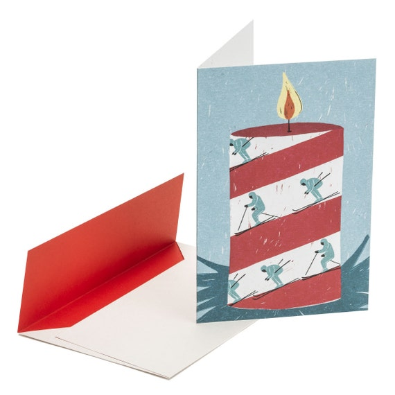 SKIERS. Funny holiday card. Mail wishes. Skiers. Red and white striped candle. Snow sports. Winter birthday. Festive. Season's greetings