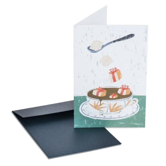 CHRISTMAS BREAK. Funny holiday card. Tea cup. Tea party invitation. Christmas. Season's greetings. Thanksgiving. Winter birthday. Festive