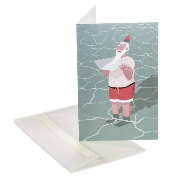 SUNBATHING SANTA. Funny Christmas card. Winter holidays. Hot weather Christmas. Funny Santa card. Gifts for him - Christmas gifts