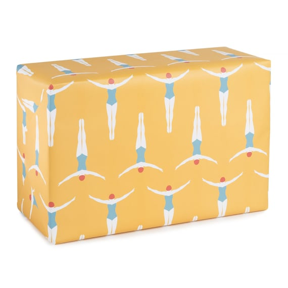 SWIMMING in THE SUN. Beach vibes yellow wrapping paper. Summer mood. Present for swimmers. Pool party gift. Gift for swim teacher