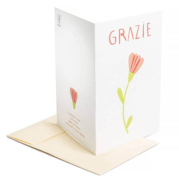 GRAZIE Thank you card. Grazie. Minimal style floral thanksgiving message. Susteinable note card printed on recycled paper