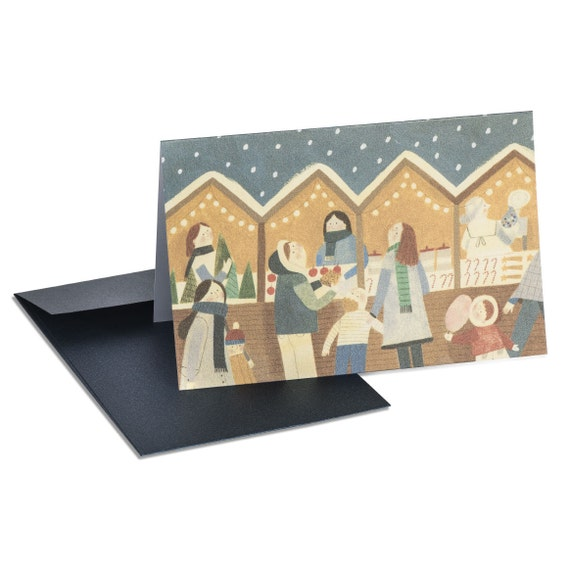 SNOWFLAKES FALLING. Cute Christmas card. Market stall. For Mom, for Grandma, for teacher, for sister