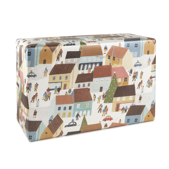 HAPPY HOLIDAYS wrapping paper. Holidays village. Happy atmosphere. Christmas shopping mood. Winter gift wrap