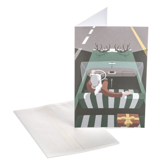 SANTA'S CAR. Funny Christmas card. Santa's Car. Unconventional Santa. For him, for car lover men