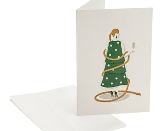 Funny holiday card. Lady proposing a toast. Hostess present. For girlfriend, sister, mother, colleague