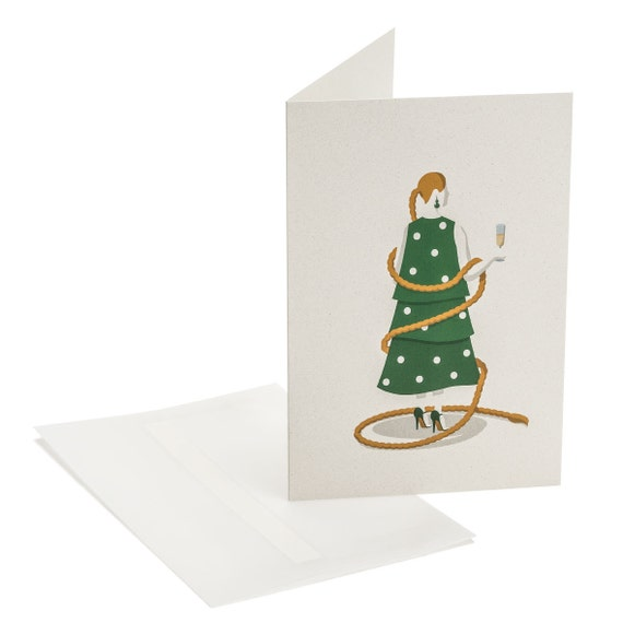 CHRISTMAS TREE. Funny holiday card. Lady proposing a toast. Hostess present. Stylish. Christmas party invitation. Fashion addict mail wishes