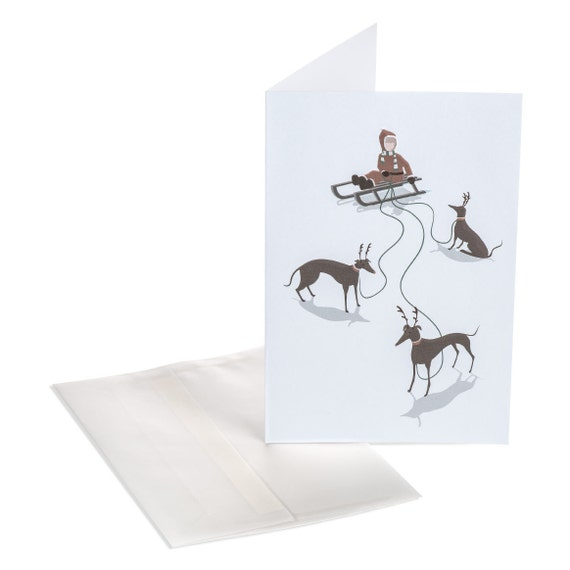SLED DOGS. Holiday greeting card. Sled Dogs. Little girl sledding. Reindeer dog. Iridescent snow white. For her, for young girl