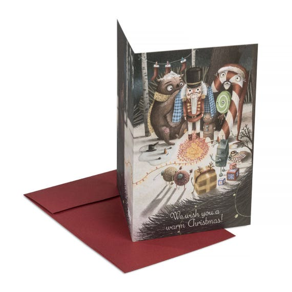 WARM CHRISTMAS. Funny Christmas card. Warm Christmas wishes. For her. For him. For illustration lovers