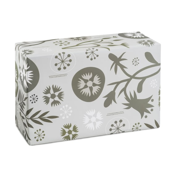 ENCHANTED FOREST. Floral wrapping paper. Stone paper. Enchanted Forest pattern. Gray hues. Sophisticated gift wrap for her. Hostess present