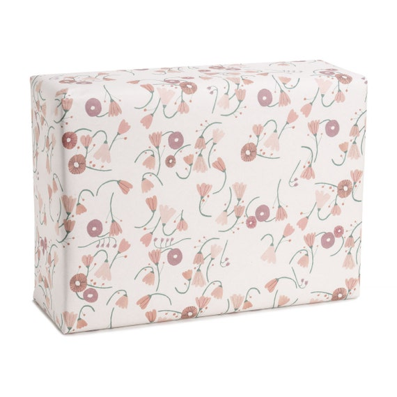 CHAIN OF FLOWERS. Floral wrapping paper. Pink flowers. Wedding gift. For Bridesmaid. Pastel hues. Birthday gift for mother, girlfriend, nana