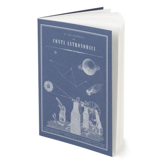 QUADERNO CONTI ASTRONOMICI. Victorian style notebook. Astronomical calculation notebook. For astronomy lovers.  Conti Astronomici