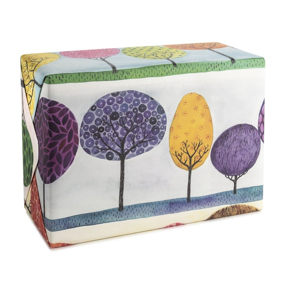 Trees wrapping paper. Luxury packaging. Four seasons wall art