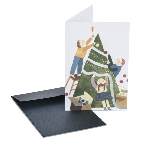 DECORATING THE TREE. Cute holiday card. Children decorating Christmas tree. For mom, for teacher, for grandma