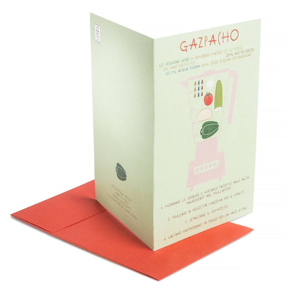GAZPACHO. Food card. Gazpacho recipe card. Creative writing. Spanish cuisine. Cooking party invitation. For food lovers