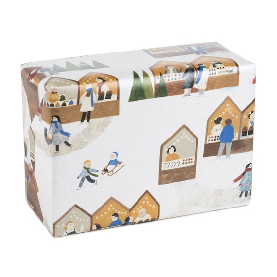 CHRISTMAS MARKET. Wrapping paper. Holiday gifts for children, grandmother, mother, girlfriend