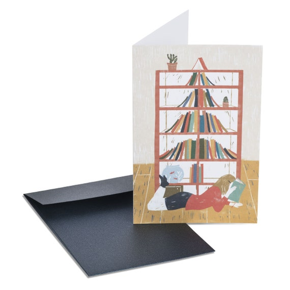 CHRISTMAS BOOKSHELF. Book lovers Christmas card. Note card for book addict. Librarian gifts. Bookworm present. Gift for her. For teacher.