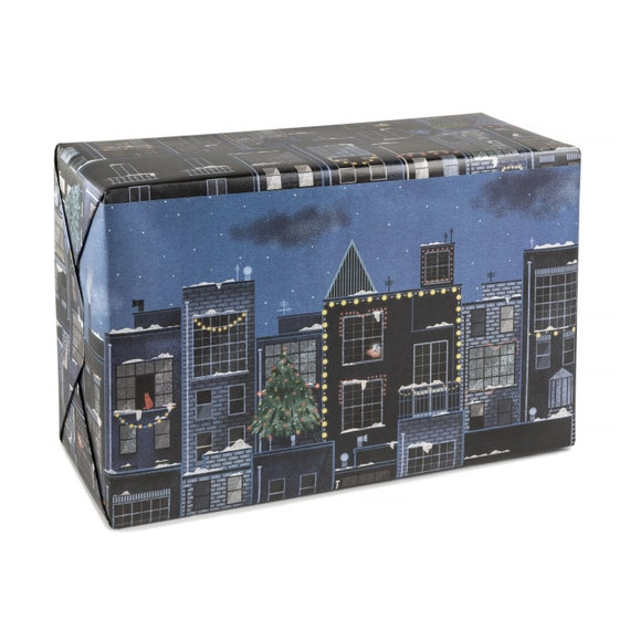 CITY LIGHTS wrapping paper. Christmas in the city. City lights at night. Winter sky. Nocturnal scene. Night skyline