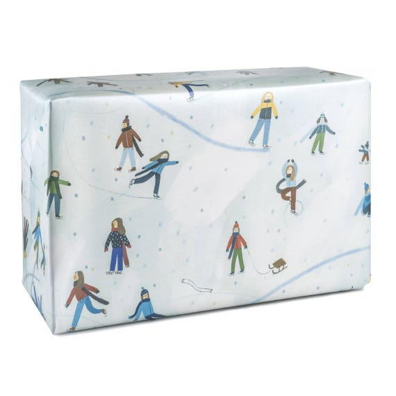 ICE SKATING wrapping paper. Skating children. For winter sports lovers. Winter birthday.