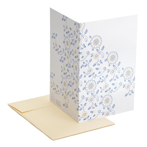 GOLD AND BLUE. Gold foiled blank card. Blue floral decor. Wedding and anniversary luxury invitation. Thank you message.