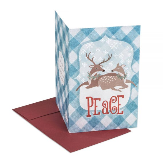 PEACE. Greeting card. Peace. Winter Reindeer. Mail Holiday wishes to customers, clients, family, friends.