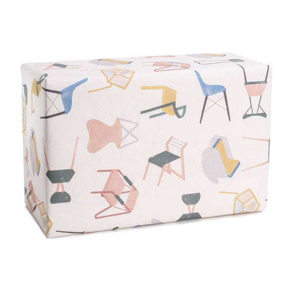 HAVE A SEAT. Wrapping paper. Minimalist style. For design lovers. Moving party gift. New home party. Hostess present.