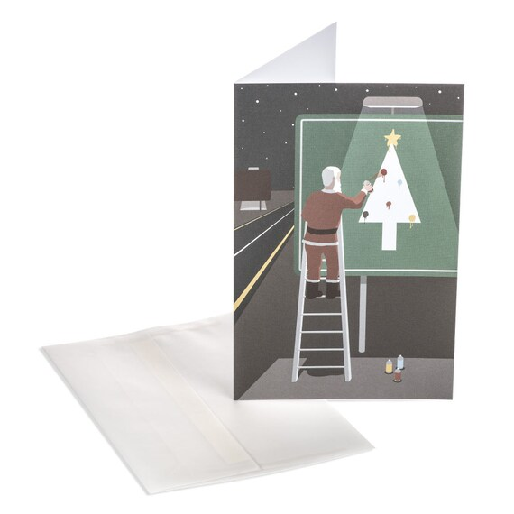 SANTA'S HIGHWAY. Funny Christmas card. Whimsical Santa note card. Holiday highway sign. For him. For art lovers.