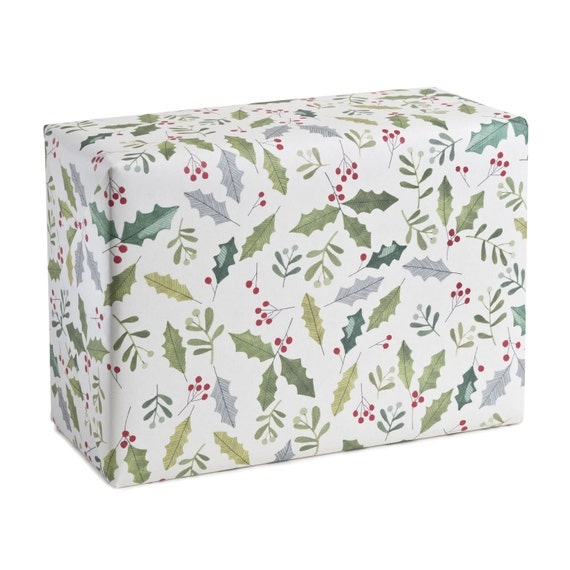 MISTLETOE. Christmas wrapping paper. Mistletoe. Holly. Traditional festive pattern. Eco-friendly holiday gift wrap. Sustainable packaging