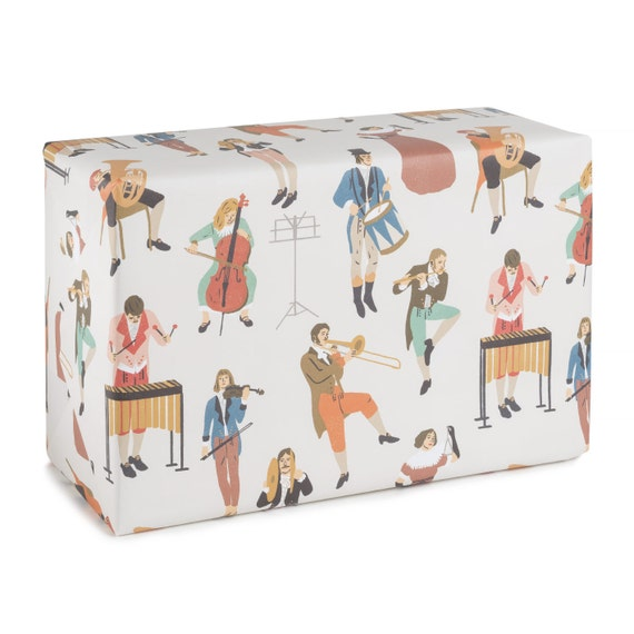SPRING ORCHESTRA. Wrapping paper. Historic costume pattern. Birthday wrapping paper. Gift for musician. Present for music teacher.