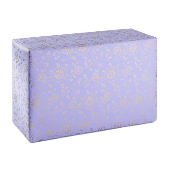 GOLDEN FLOWER. Floral wrapping paper. Lavender and gold. Luxury gift wrapping