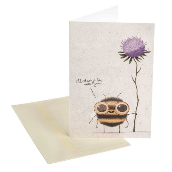 THE LOVING BEE. Cute love card. I will always be with you. Love promise. Funny wedding card